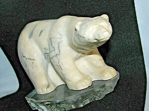 ARTIST CT RAY SIGNED  HAND CARVED &  POLISHED SCULPTURE MARBLE WHITE POLAR BEAR
