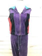 Vintage 1980s Velour Women's Sz Small/Med 2 Piece Multicolor Warm-Up Outfit; Euc