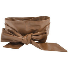 Women Self Tie Faux Leather Wide OBI Sash Waist Belt Wrap Band Brown 2.2m. Shipp