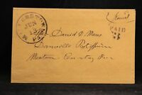 Pennsylvania: Millerstown 1854 Stampless Cover, Black CDS, PAID 3 in 2 Lines