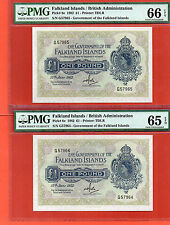 2X 1982 Gov of Falkland Islands QE II 1 Pound note .PMG65/66 EPQ consecutive