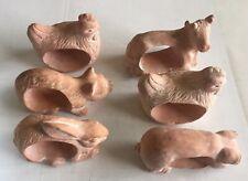 Set of 6 Vintage Terra Cotta Farm Animal Napkin Rings-Chicken,Pig,Rabbit, Cat,Cow