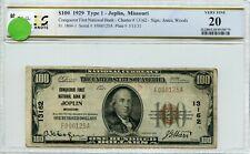 "FR1804-1 CH #13162 $100 1929 FRBN ""JOPLIN, MO"" PCGS 20 VF (#36a DFP 7/17/20)"