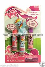 MY LITTLE PONY 4pc Cosmetic Set LIP BALM+INTERCHANGEABLE TOPPER Scented HASBRO