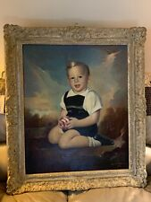 Vintage Oil On Canvas Framed Art Signed Portrait Painting Dated 1955 Mid Century