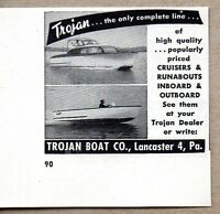 1954 Print Ad Trojan Boats Made in Lancaster,PA