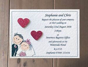 50 Wedding Invitations Evening Invites Handmade and Personalised with Envelopes