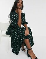 "ASOS Tall TRAPEZE MAXI DRESS, PUFF-SLEEVE Black & Green Polka Dot UK 14 61""L EXC"