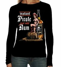 Velocitee Ladies Long Sleeve T-Shirt Instant Pirate Rum Drinking Pin Up W13437