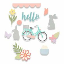 SIZZIX THINLITS CUTTING DIE SET - SPRING TIME 662515 BICYCLE EASTER BUNNY FLOWER