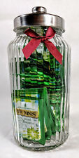 Large Vintage Ribbed Glass Jar Filled with 60 Twining's Garden Mint envelopes.