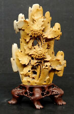 ANTIQUE Vintage CHINESE China HAND CARVED SOAPSTONE Figural SCULPTURE Statue