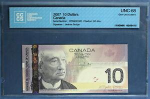 Canada - 2007 - $ 10 - BC-68a  - Jenkins Dodge - CCCS UNC-68 (Gem)