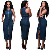 Womens Bodycon Tunic Slit Jeans Dress Zip Up Belted Demin Blue Mid-calf Sundress