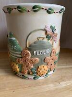 Vtg Yankee Candle Ceramic Kitchen Christmas Pillar Candle Holder Gingerbread