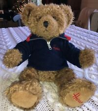 "HARRODS Soft Plush Teddy Bear 14"" Tall Wearing Navy Fleece Embroidered - Easter"