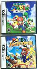 TWO NINTENDO DS MARIO GAMES ~ SUPER MARIO & MARIO HOOPS 3 ON 3 GAMES & BOOKLETS