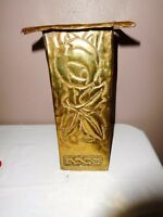 VINTAGE HEAVY BRASS SQUARE ETCHED VASE MID CENTURY HAND WROUGHT UNIQUE SCULPTURE