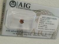 Diamant Certifié AIG - 0.50 ct  Diamants  Natural Fancy Cognac  SI3 Sous Blister