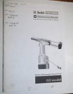 Avdel Textron G2 Model Hydro-Pneumatic Power Tool Instruction Manual