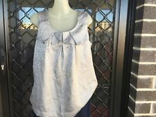 Suzannegrae Women's Tank/Singlet Top - Silver, slip-on, gathered front - Size 12