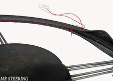 FOR RELIANT SCIMITAR GTE 76-90 DARK GREY LEATHER STEERING WHEEL COVER RED STITCH