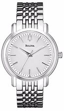 Bulova Men's 96A150 Silver Tone Quartz White Dial Stainless Steel Watch