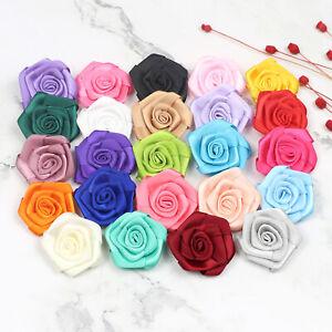25 Color 40mm Satin Ribbon Rose flower DIY Sewing Applique Wedding Bridal Bouque