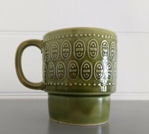 Vintage Retro Stackable Green Coffee Tea Mugs 70s JAPAN Cup