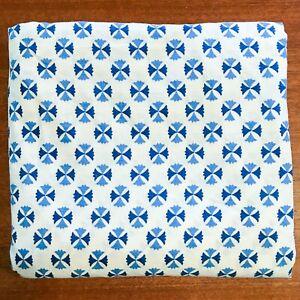 Double Bed Vintage Cotton Sheet 2 Tone Blue White 2.3m x 2.2m