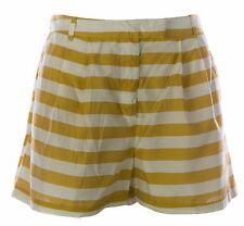 TOPSHOP Women's Mustard/Natural Striped High Waist Lined Shorts UK Size 12 NEW