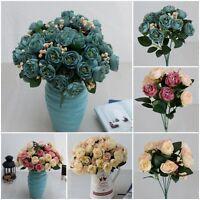 10 Heads Flowers Silk Artificial Bouquet Wedding Party Home Decor Craft