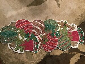 PIER 1 IMPORTS BEADED HOLIDAY BELLS ORNAMENTS TABLE RUNNER BRAND NEW FREE SHIP!