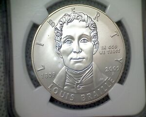 2009 P  $1 NGC  MS 70  LOUIS BRAILLE