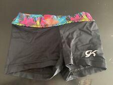 Gk Elite Black Gymnastics Leotard Bar Mini Shorts Nylon Spandex Child, Euc