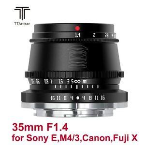 TTArtisan 35mm F1.4 APS-C MF Lens For Sony E Fuji X M4/3 Canon EOS-M Leica L Mou
