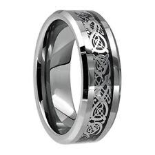 8mm Mens Silver Celtic Dragon Inlay Tungsten Carbide Ring