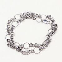 """19"""", Vtg 925 Sterling Silver Handmade Hammered Bold Circle chain necklace"""