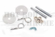 Universal Hair Pin Style Hood Pin Kit Chrome Steel Chevy Ford Mopar