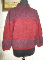 Pull laine mérinos/acrylique rouge rayé marron mauve tricot LEWINGER t.3 42/44