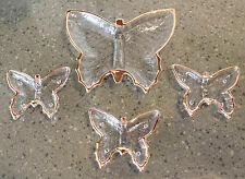 4pc Butterfly Snack Nut Dip Bowl/Dish Set Gold Trim Clear Vintage Serving