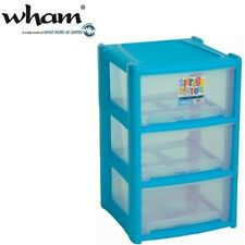 Wham® 16001 Schubladenbox 3er BLAU 39x39x65cm Aufbewahrungsbox Sortierbox Box