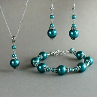 Teal blue green silver pearls necklace bracelet earrings wedding bridesmaid set