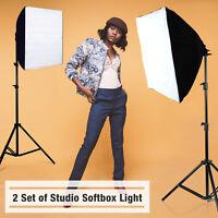 2 x 200W Continuous Bulb Photo Studio Video Light Stand Softbox Lighting Kit