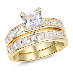 Gold Plated Sterling Silver Princess Cut AAA CZ Women's Wedding Bridal Ring Set