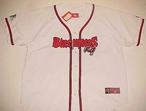 Tampa Bay Buccaneers Logo NFL NFC Vintage Scripted White Baseball Jersey XL New