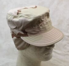 NOS GENUINE US ARMY PATROL CAP DESERT CAMO COLD WEATHER INSULATED W/ EAR MUFFS
