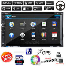 "7"" HD Double 2 DIN Car CD DVD Player GPS Nav Bluetooth Touch Stereo Radio+ Map"