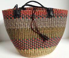 Beach Shoulder Bag Purse Handcrafted Fair Trade African Market Basket w/ Leather