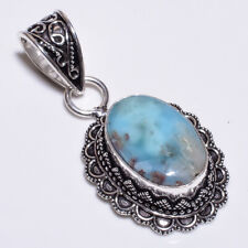 Caribbean Larimar .925 Silver Plated Hand Carving Pendant Jewelry L31